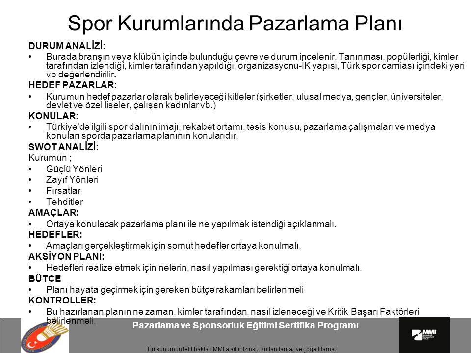 Spor Kurumlarında Pazarlama Planı