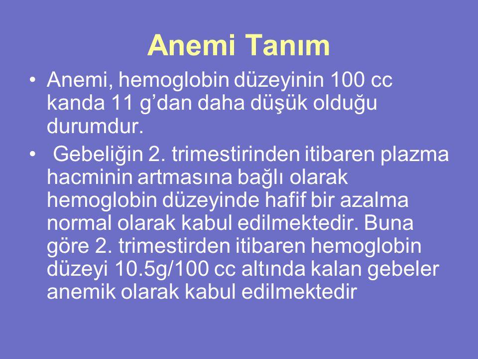 Anemi Tanım Anemi, hemoglobin düzeyinin 100 cc kanda 11 g'dan daha düşük olduğu durumdur.