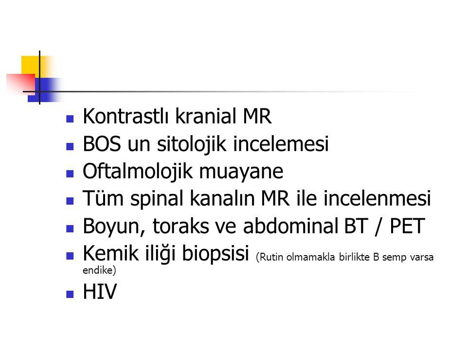 Kontrastlı kranial MR BOS un sitolojik incelemesi. Oftalmolojik muayane. Tüm spinal kanalın MR ile incelenmesi.