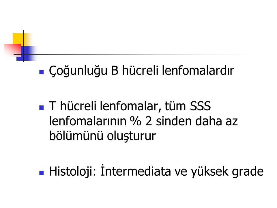 Çoğunluğu B hücreli lenfomalardır