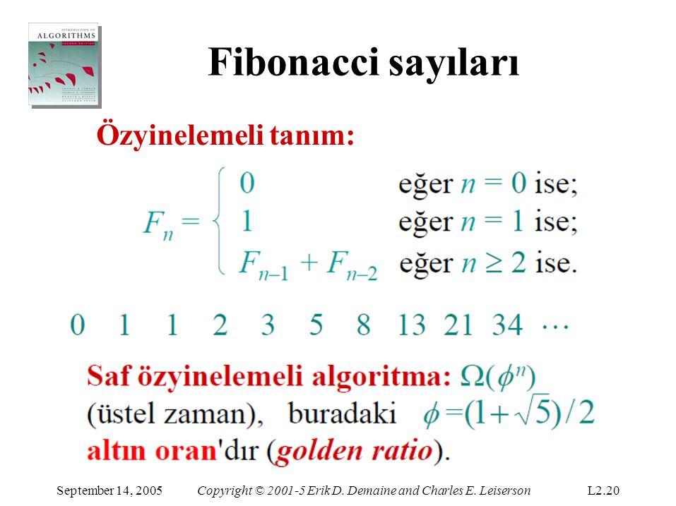 Fibonacci sayıları Özyinelemeli tanım: September 14, 2005