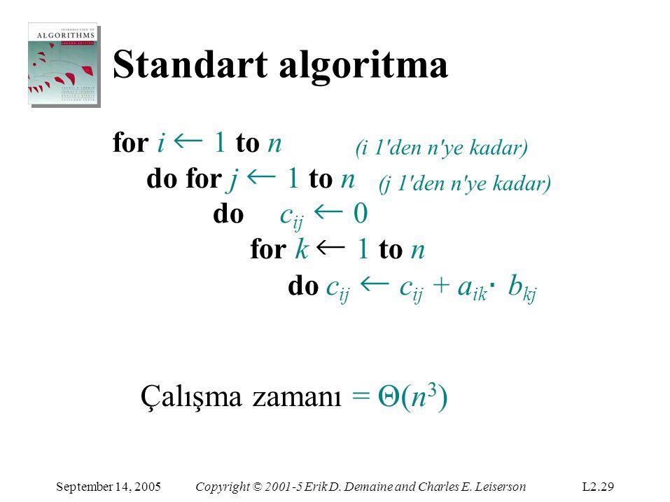 Standart algoritma Çalışma zamanı = Θ(n3) for i ← 1 to n