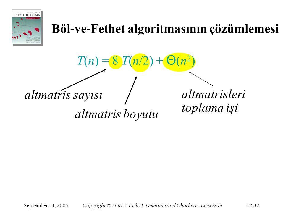 Böl-ve-Fethet algoritmasının çözümlemesi T(n) = 8 T(n/2) + Θ(n2)