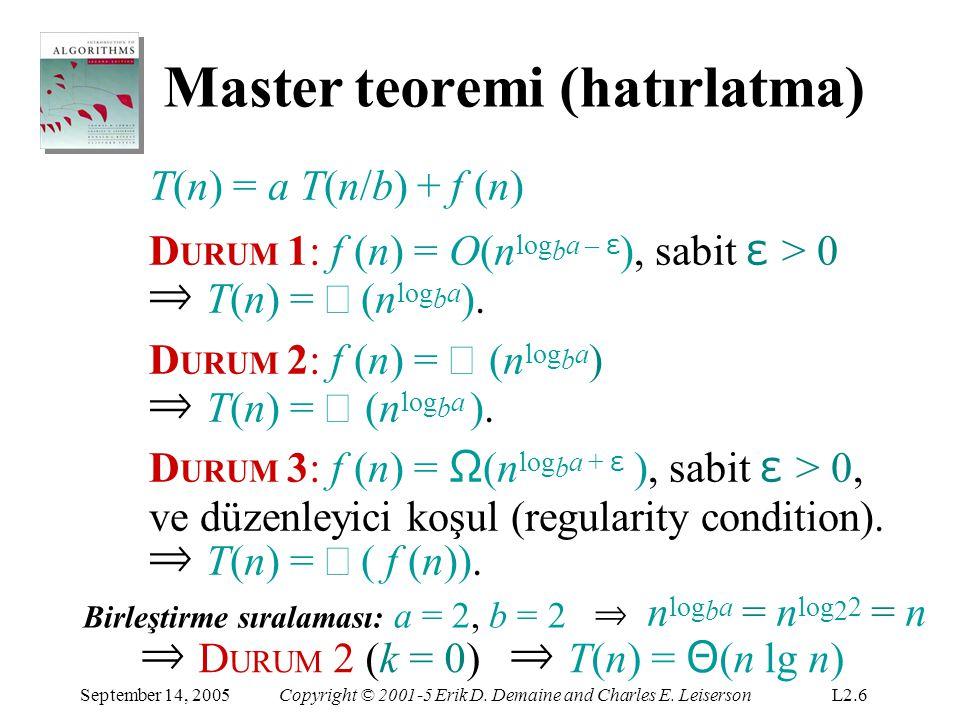 Master teoremi (hatırlatma)
