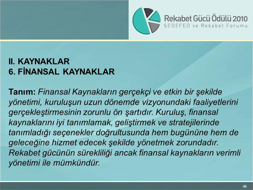 II. KAYNAKLAR 6. FİNANSAL KAYNAKLAR.