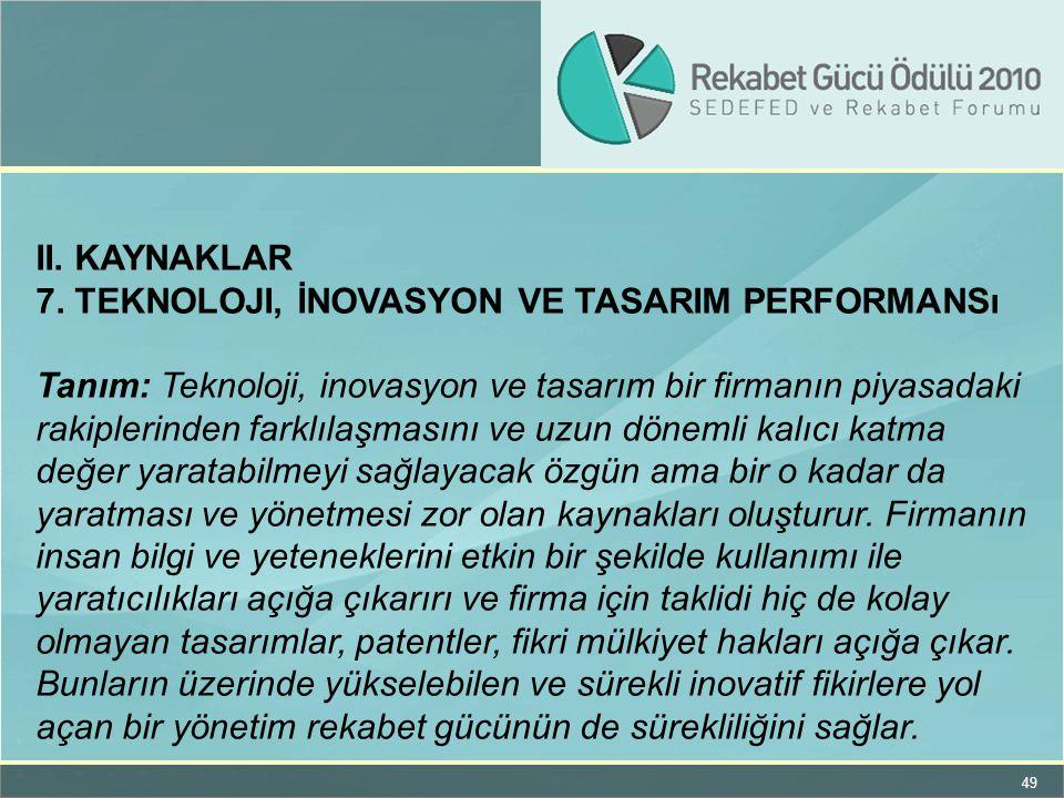 II. KAYNAKLAR 7. Teknoloji, İnovasyon ve TASARIM Performansı.
