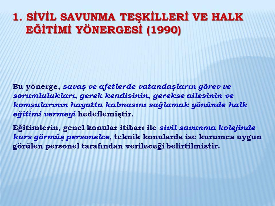 1. SİVİL SAVUNMA TEŞKİLLERİ VE HALK EĞİTİMİ YÖNERGESİ (1990)