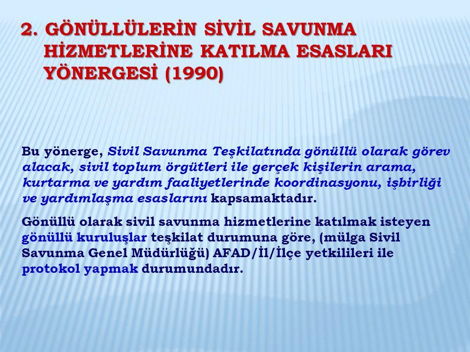 2. GÖNÜLLÜLERİN SİVİL SAVUNMA HİZMETLERİNE KATILMA ESASLARI YÖNERGESİ (1990)