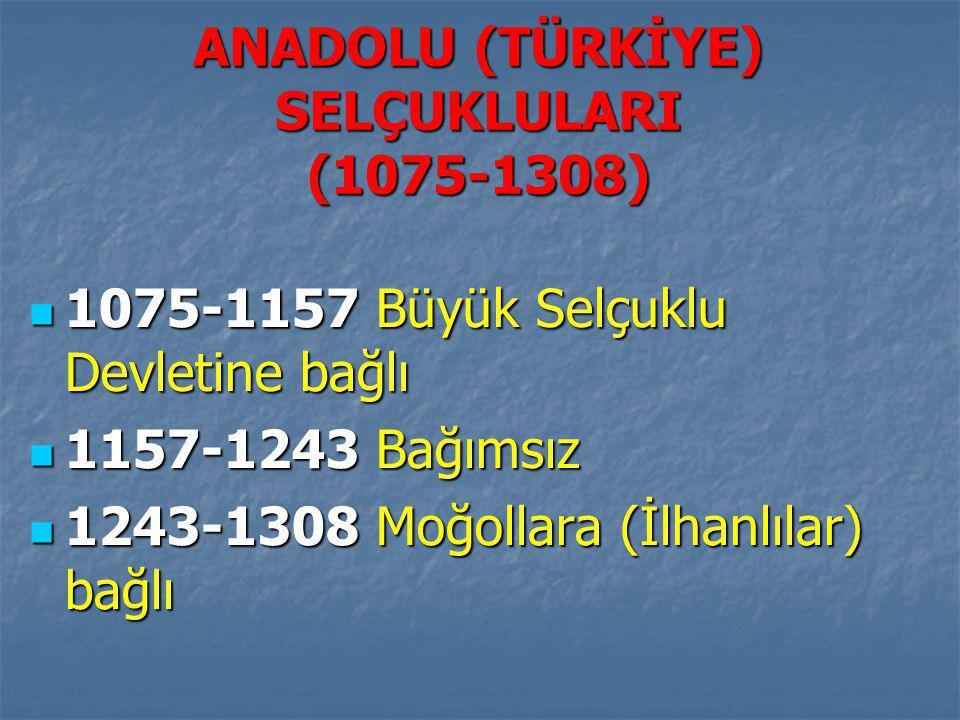 ANADOLU (TÜRKİYE) SELÇUKLULARI (1075-1308)