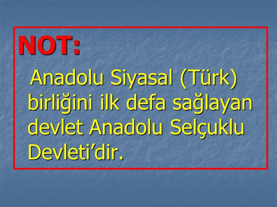 NOT: Anadolu Siyasal (Türk) birliğini ilk defa sağlayan devlet Anadolu Selçuklu Devleti'dir.