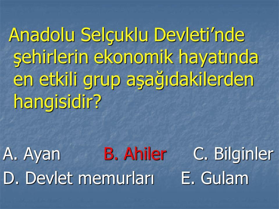 Anadolu Selçuklu Devleti'nde şehirlerin ekonomik hayatında en etkili grup aşağıdakilerden hangisidir
