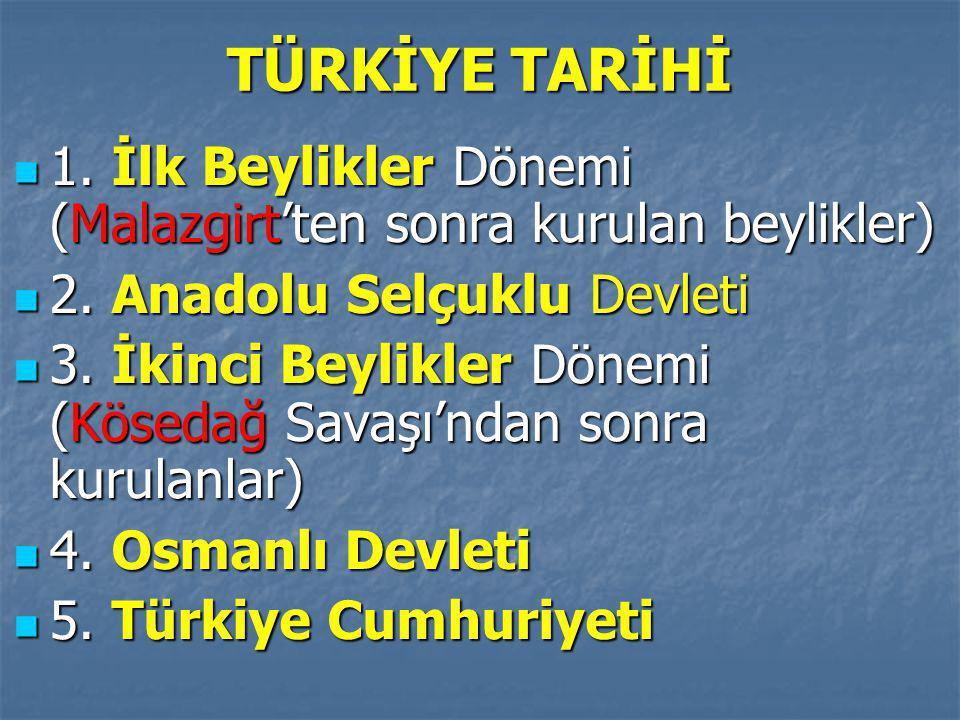 TÜRKİYE TARİHİ 1. İlk Beylikler Dönemi (Malazgirt'ten sonra kurulan beylikler) 2. Anadolu Selçuklu Devleti.