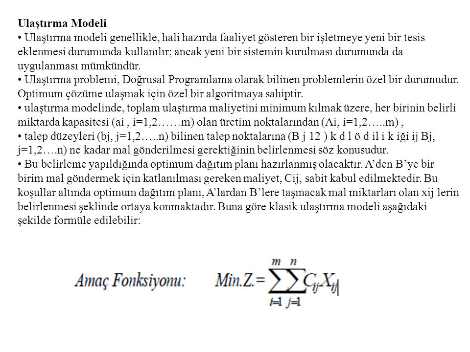 Ulaştırma Modeli