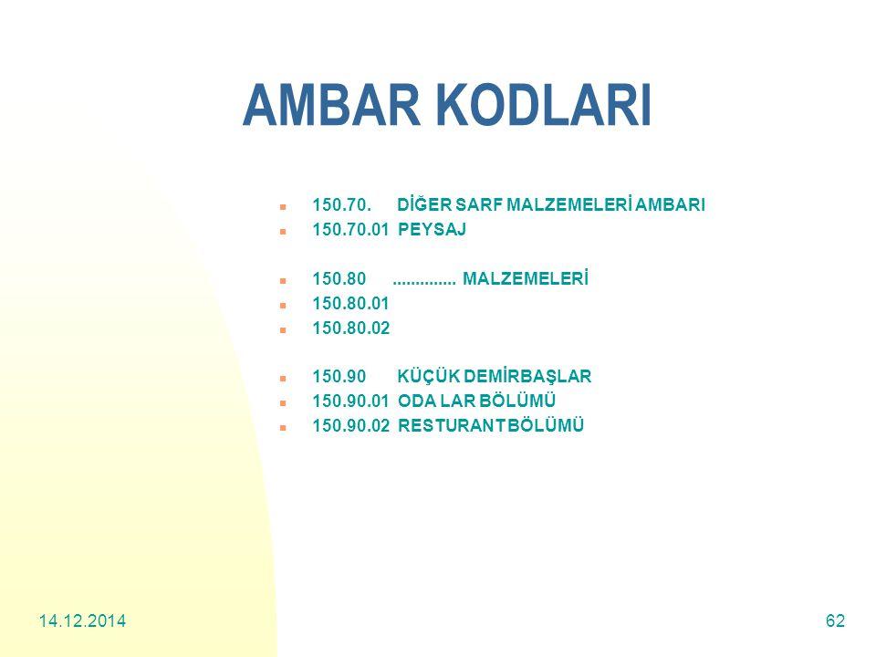 AMBAR KODLARI 150.70. DİĞER SARF MALZEMELERİ AMBARI 150.70.01 PEYSAJ