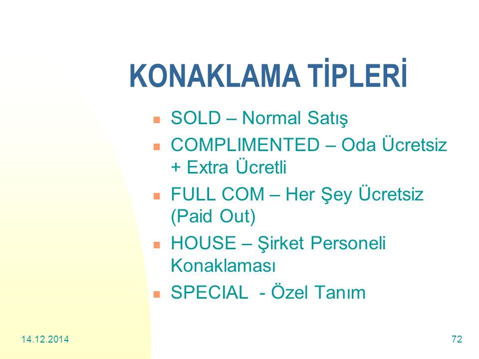 KONAKLAMA TİPLERİ SOLD – Normal Satış