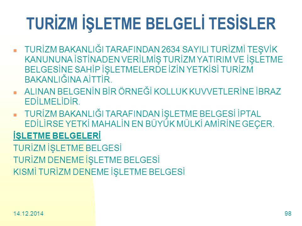 TURİZM İŞLETME BELGELİ TESİSLER