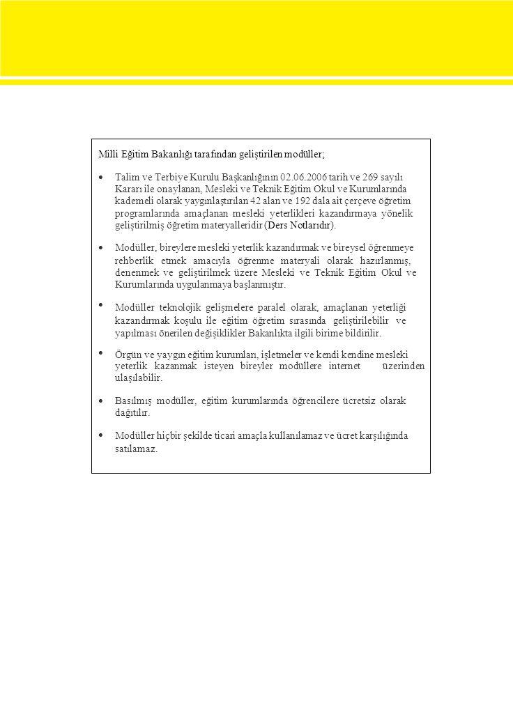 Milli Eğitim Bakanlığı tarafından geliştirilen modüller;