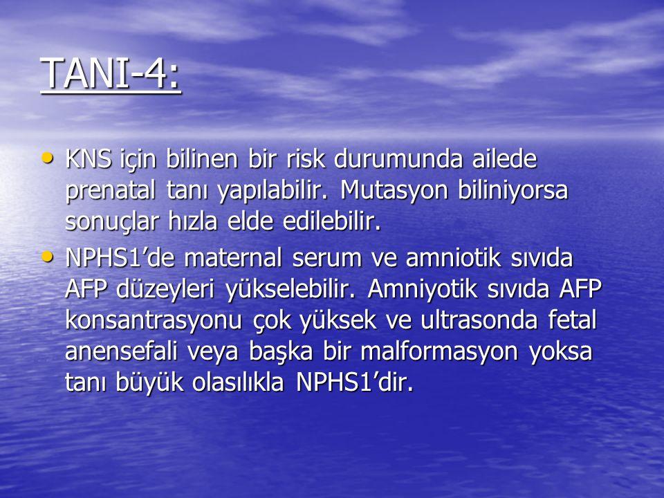TANI-4: KNS için bilinen bir risk durumunda ailede prenatal tanı yapılabilir. Mutasyon biliniyorsa sonuçlar hızla elde edilebilir.