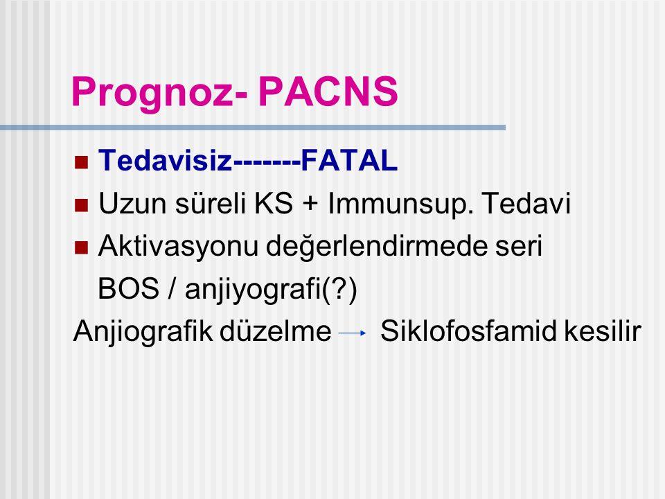 Prognoz- PACNS Tedavisiz-------FATAL Uzun süreli KS + Immunsup. Tedavi