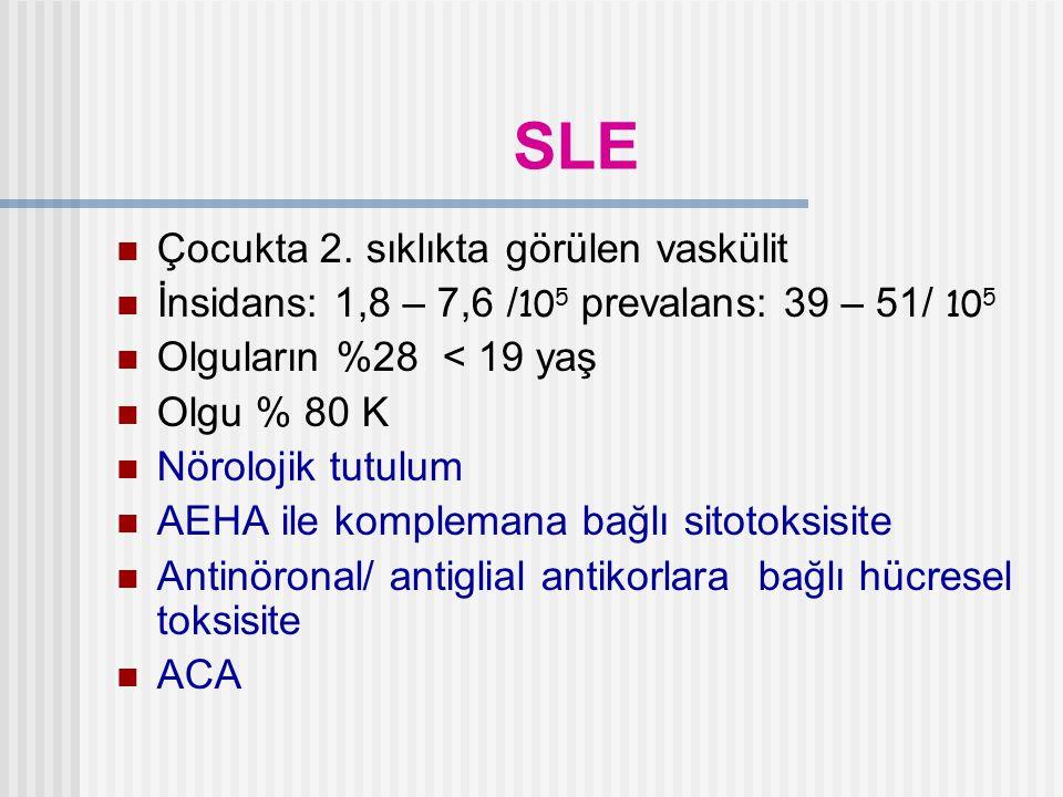 SLE Çocukta 2. sıklıkta görülen vaskülit