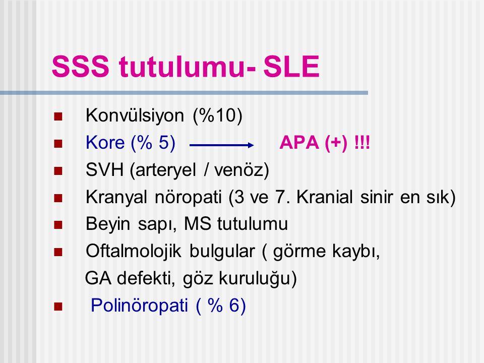 SSS tutulumu- SLE Konvülsiyon (%10) Kore (% 5) APA (+) !!!