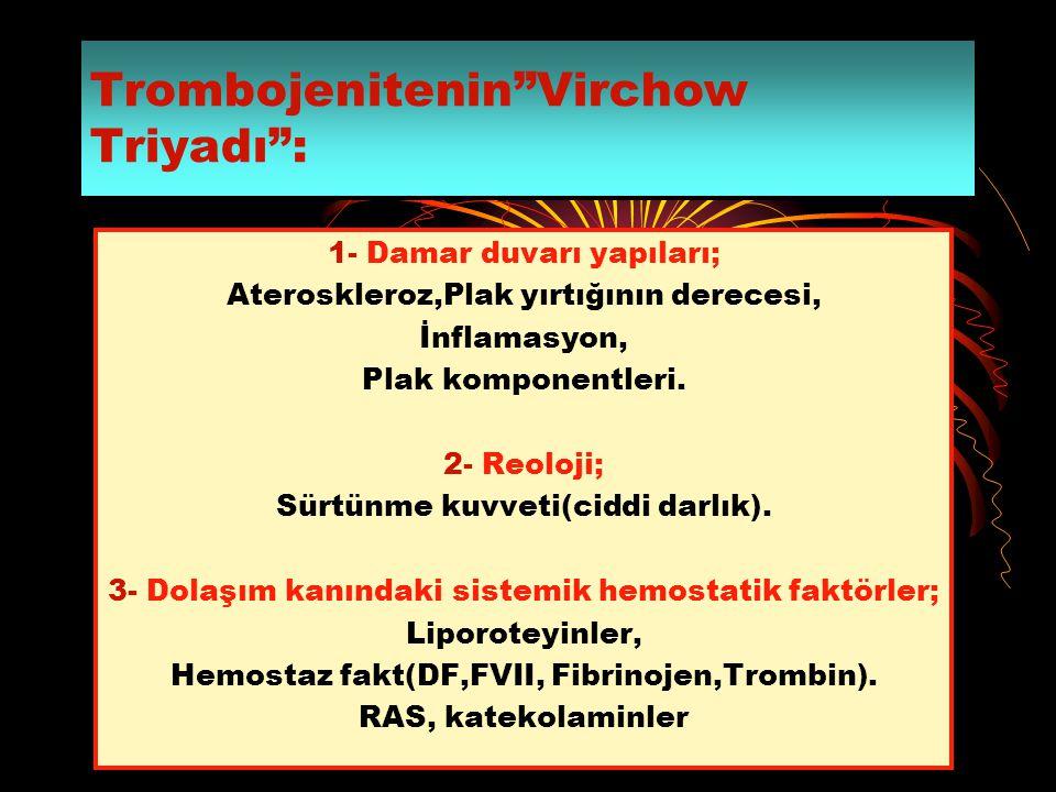 Trombojenitenin Virchow Triyadı :