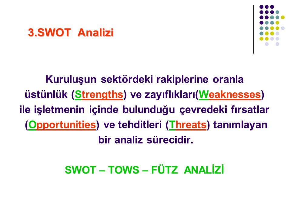 3.SWOT Analizi Kuruluşun sektördeki rakiplerine oranla