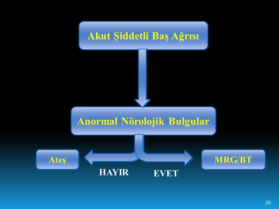Akut Şiddetli Baş Ağrısı Anormal Nörolojik Bulgular