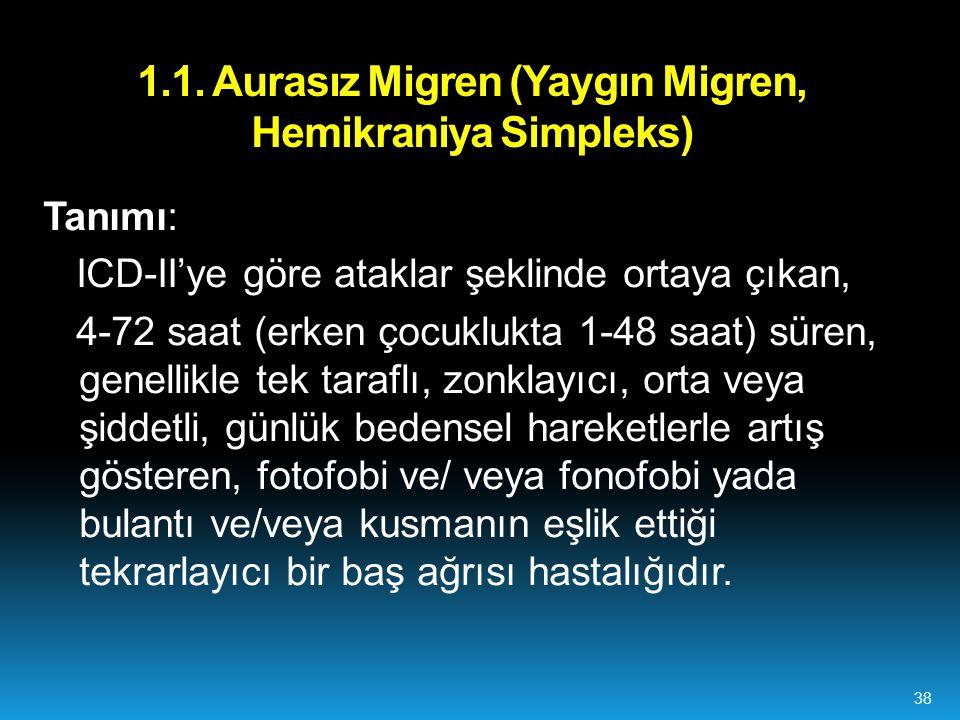 1.1. Aurasız Migren (Yaygın Migren, Hemikraniya Simpleks)