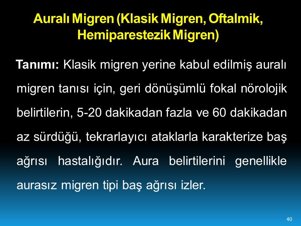 Auralı Migren (Klasik Migren, Oftalmik, Hemiparestezik Migren)