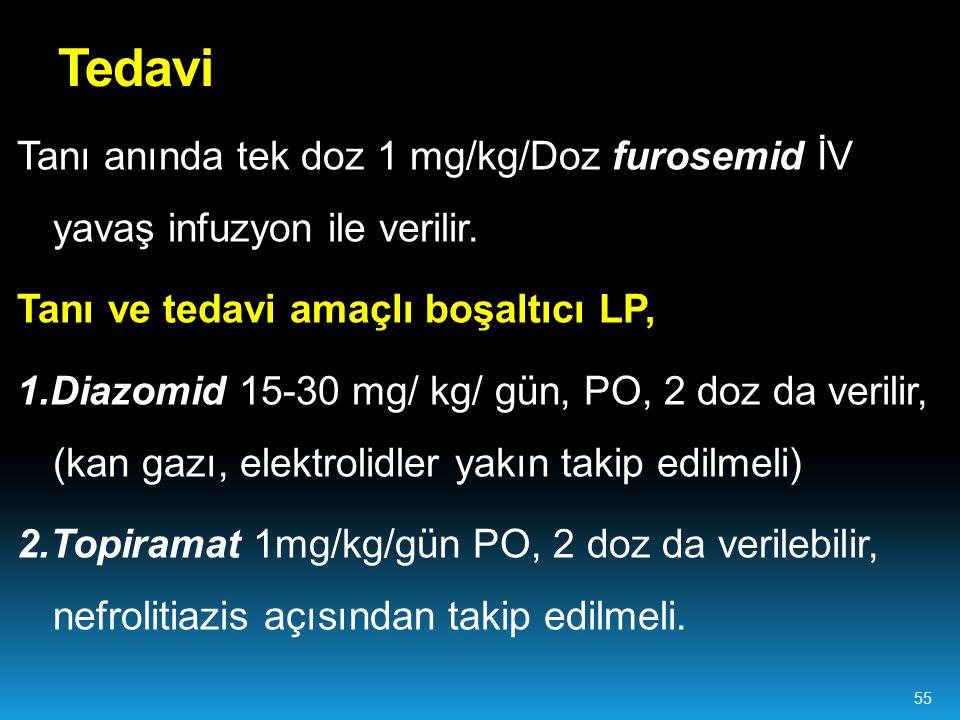 Tedavi Tanı anında tek doz 1 mg/kg/Doz furosemid İV yavaş infuzyon ile verilir. Tanı ve tedavi amaçlı boşaltıcı LP,