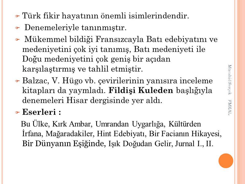 Türk fikir hayatının önemli isimlerindendir.