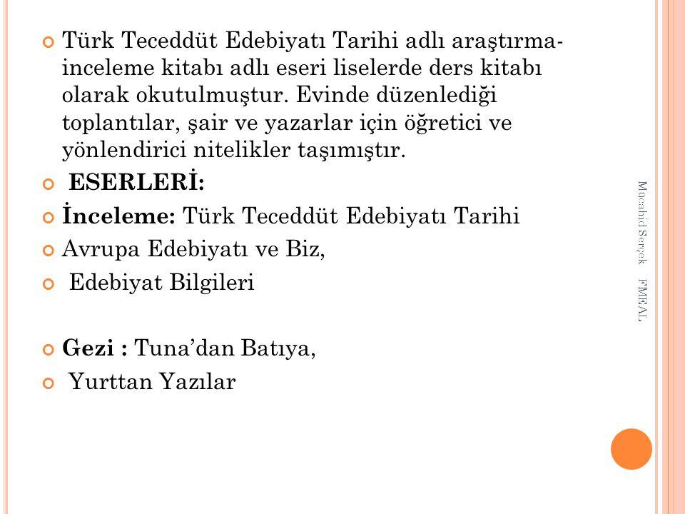 İnceleme: Türk Teceddüt Edebiyatı Tarihi Avrupa Edebiyatı ve Biz,