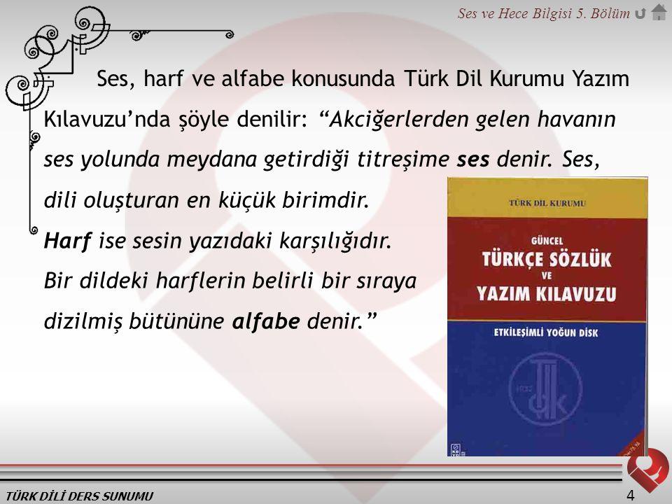 Ses, harf ve alfabe konusunda Türk Dil Kurumu Yazım Kılavuzu'nda şöyle denilir: Akciğerlerden gelen havanın ses yolunda meydana getirdiği titreşime ses denir. Ses,