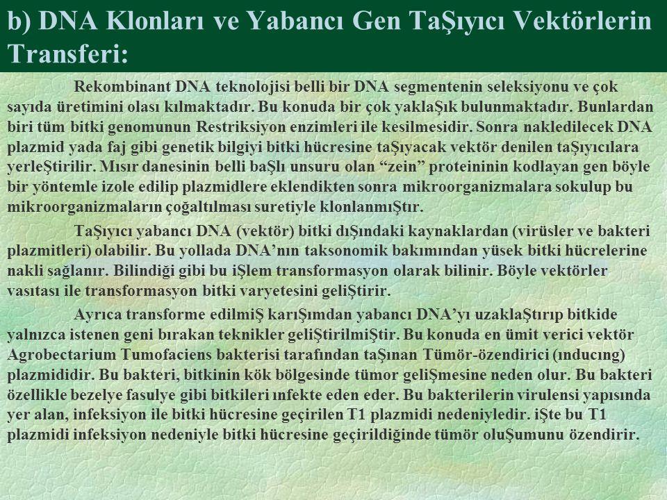 b) DNA Klonları ve Yabancı Gen TaŞıyıcı Vektörlerin Transferi: