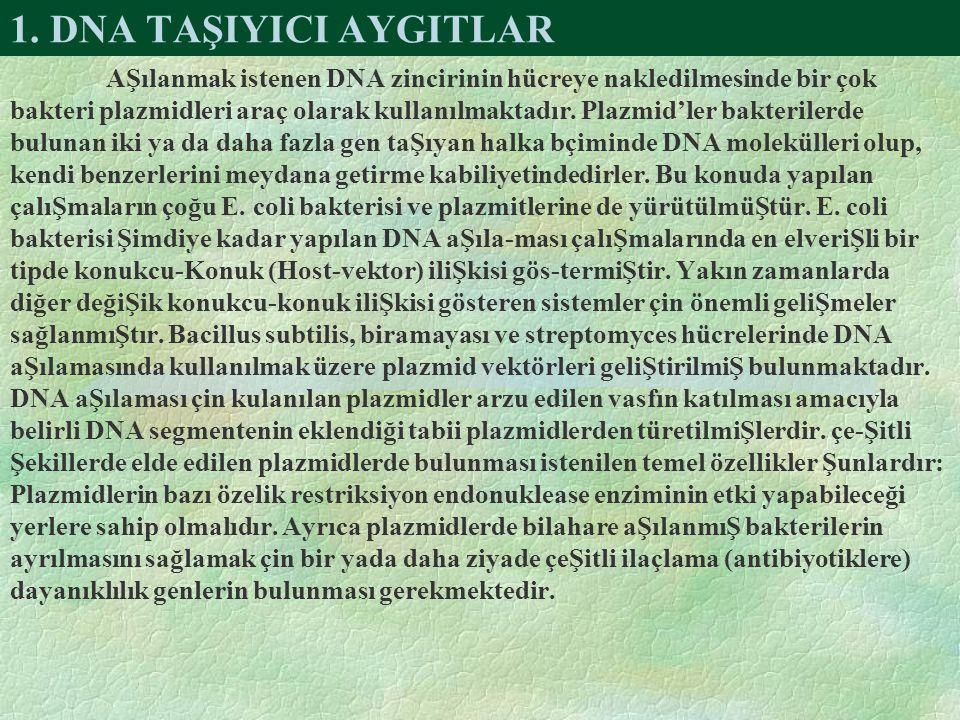 1. DNA TAŞIYICI AYGITLAR
