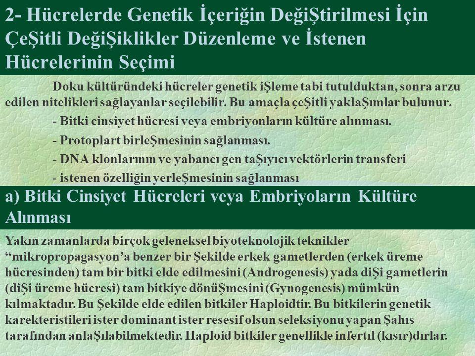2- Hücrelerde Genetik İçeriğin DeğiŞtirilmesi İçin ÇeŞitli DeğiŞiklikler Düzenleme ve İstenen Hücrelerinin Seçimi