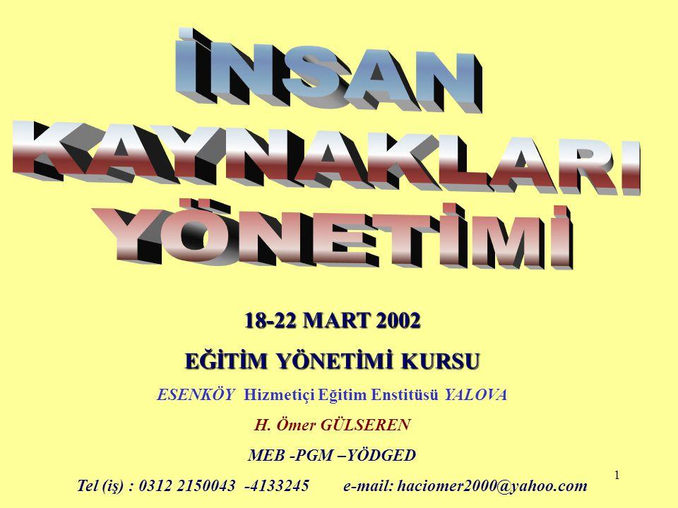 İNSAN KAYNAKLARI YÖNETİMİ 18-22 MART 2002 EĞİTİM YÖNETİMİ KURSU