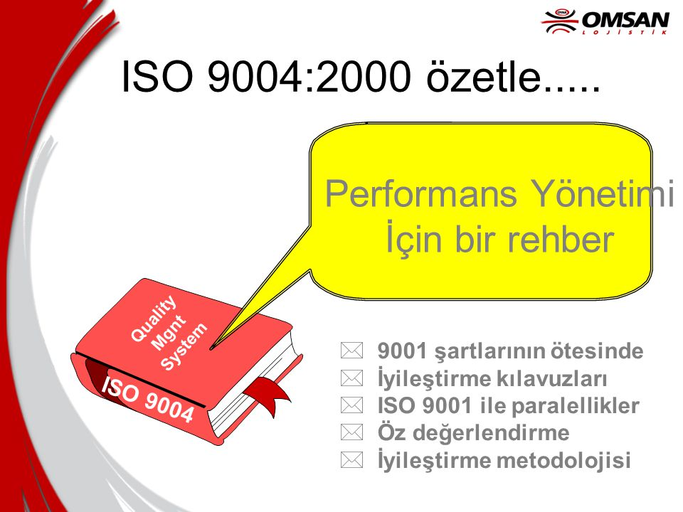 ISO 9004:2000 özetle..... Performans Yönetimi İçin bir rehber