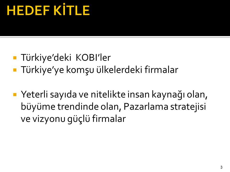 HEDEF KİTLE Türkiye'deki KOBI'ler