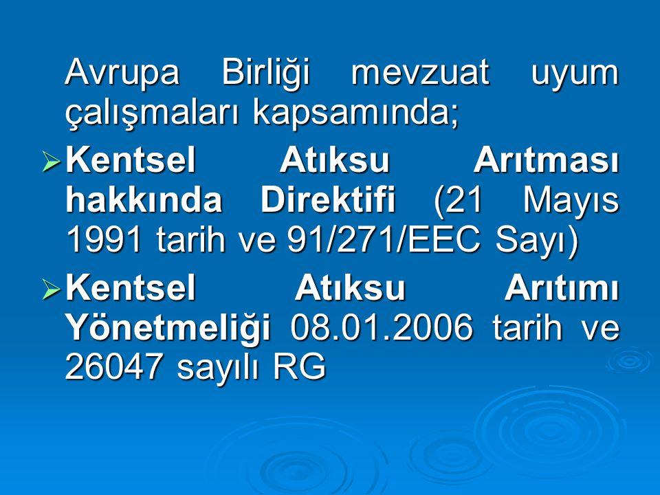 Kentsel Atıksu Arıtımı Yönetmeliği 08.01.2006 tarih ve 26047 sayılı RG