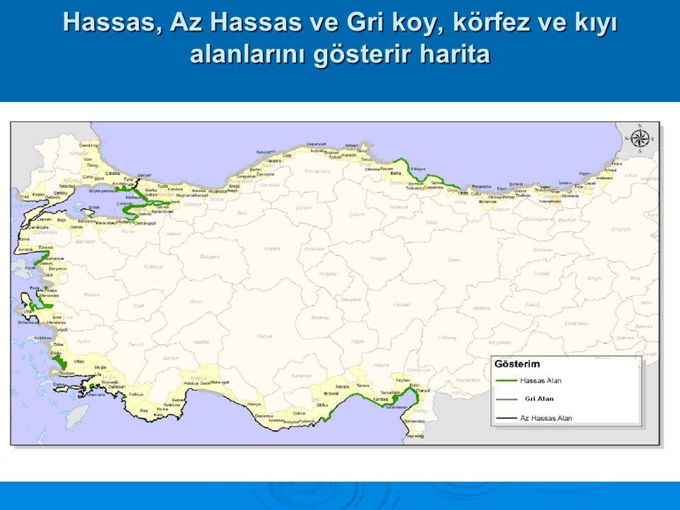 Hassas, Az Hassas ve Gri koy, körfez ve kıyı alanlarını gösterir harita