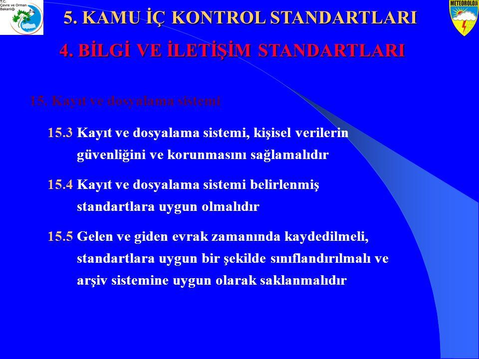 5. KAMU İÇ KONTROL STANDARTLARI 4. BİLGİ VE İLETİŞİM STANDARTLARI