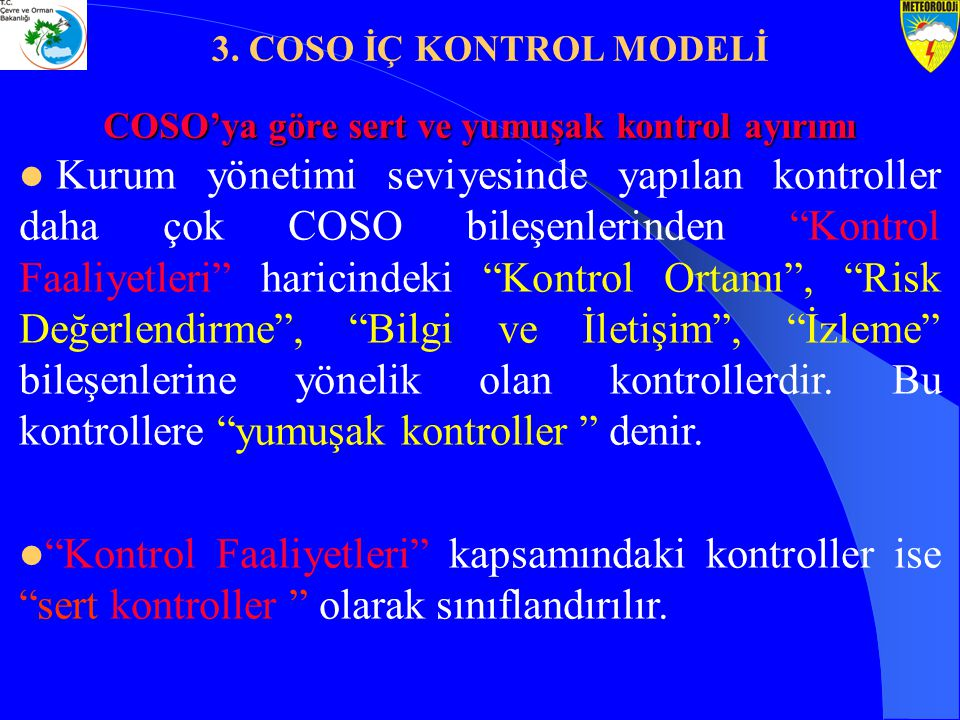 COSO'ya göre sert ve yumuşak kontrol ayırımı