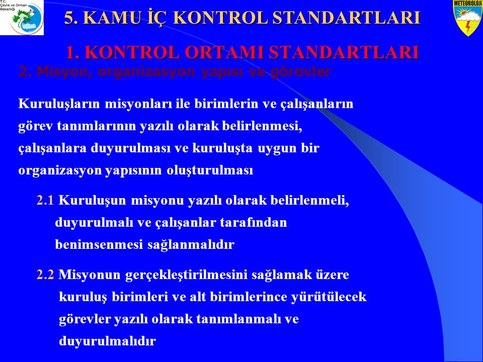 1. KONTROL ORTAMI STANDARTLARI