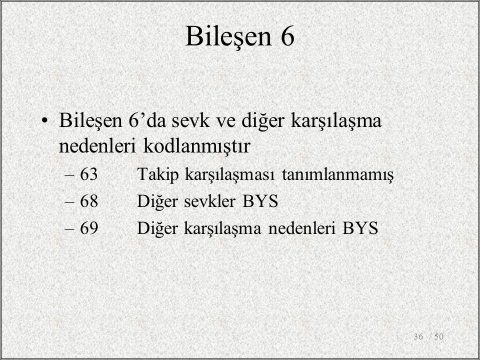 Bileşen 6 Bileşen 6'da sevk ve diğer karşılaşma nedenleri kodlanmıştır