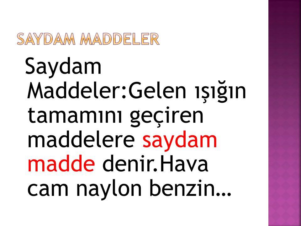 SAYDAM MADDELER Saydam Maddeler:Gelen ışığın tamamını geçiren maddelere saydam madde denir.Hava cam naylon benzin…