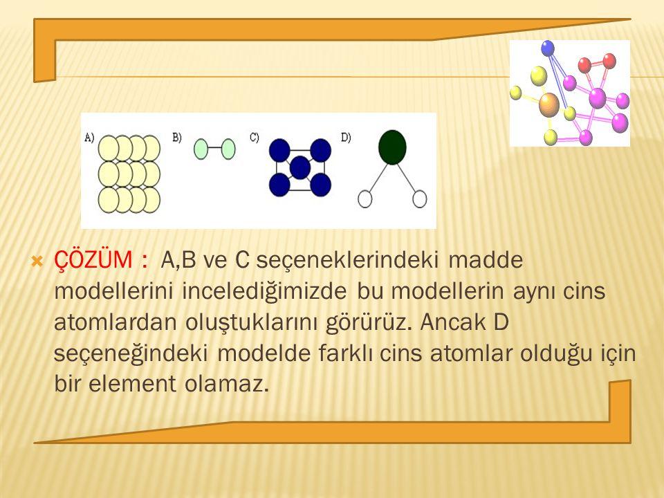 ÇÖZÜM : A,B ve C seçeneklerindeki madde modellerini incelediğimizde bu modellerin aynı cins atomlardan oluştuklarını görürüz.