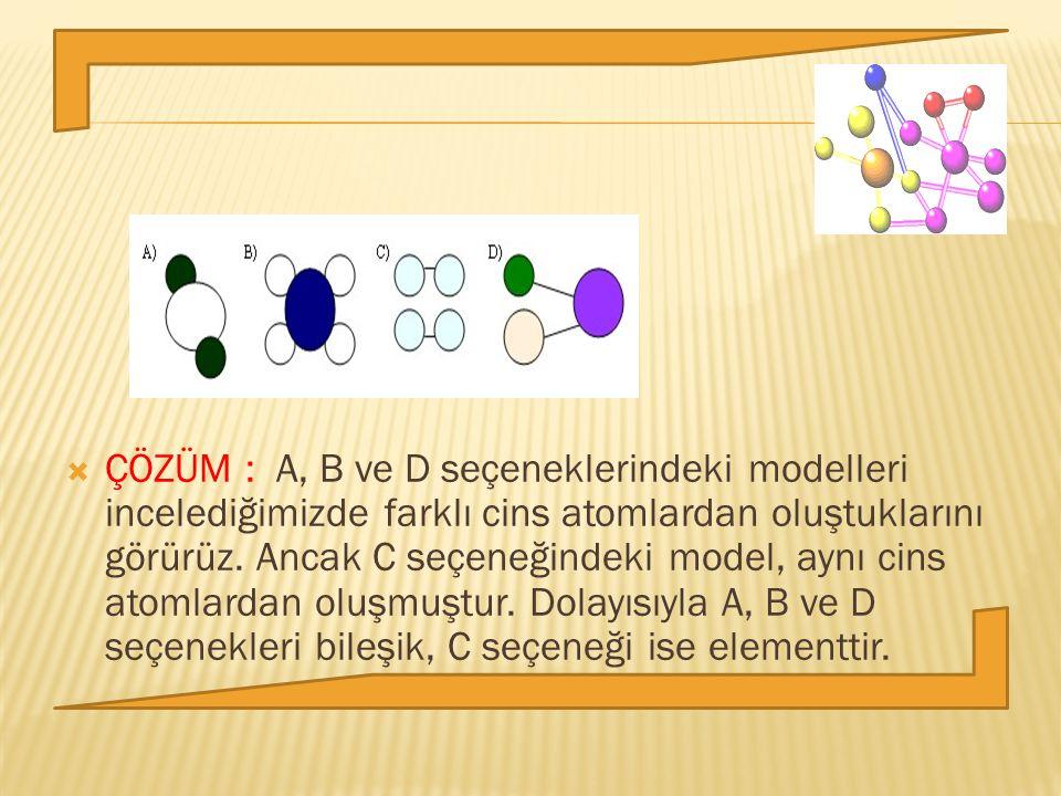 ÇÖZÜM : A, B ve D seçeneklerindeki modelleri incelediğimizde farklı cins atomlardan oluştuklarını görürüz.