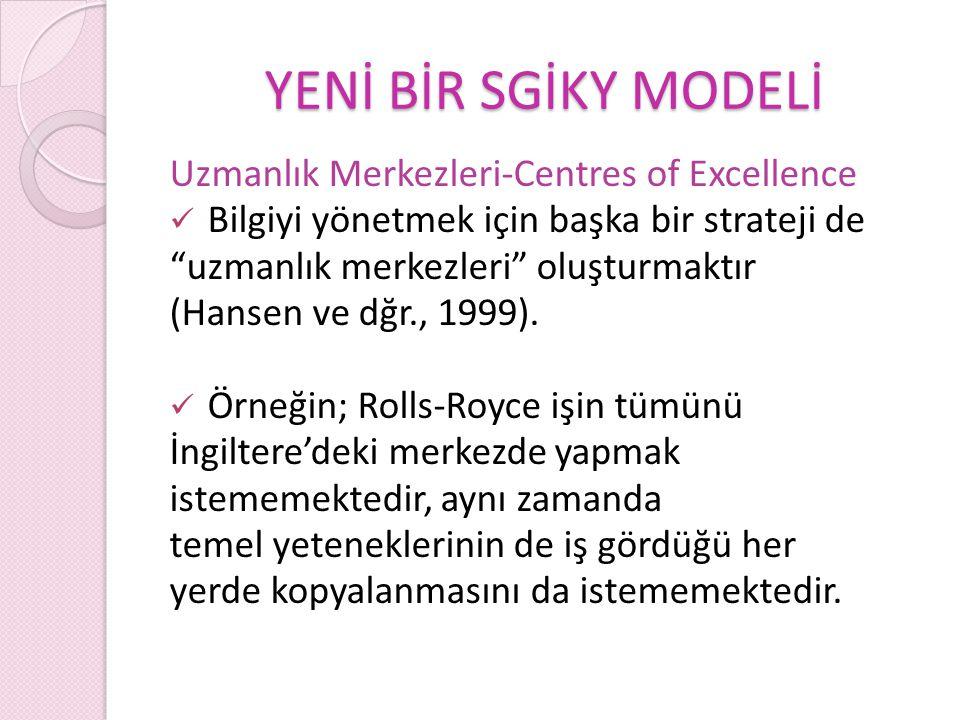 YENİ BİR SGİKY MODELİ Uzmanlık Merkezleri-Centres of Excellence